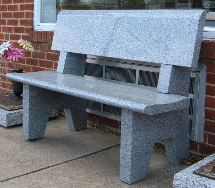 Polished Gray Memorial Bench with Back Manassas, VA