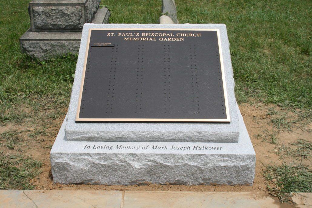 Bronze Plaque at Cremation Garden in St Paul's Episcopal Church Alexandria, VA