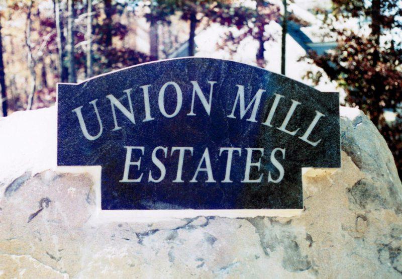 Union Mill Estates sign by Kline Memorials