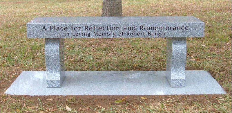 Granite Memorial Bench at Sudley United Methodist Church Cemetery in Manassas, VA