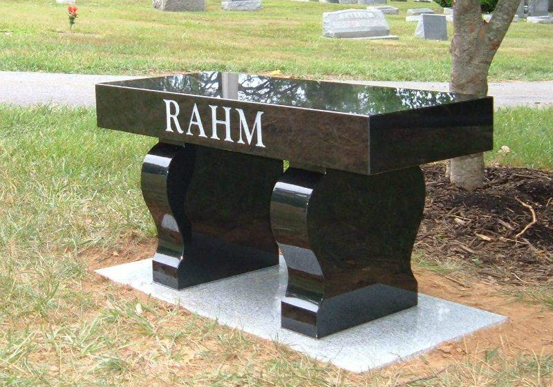 Black Granite Memorial Bench Prince George's County, VA