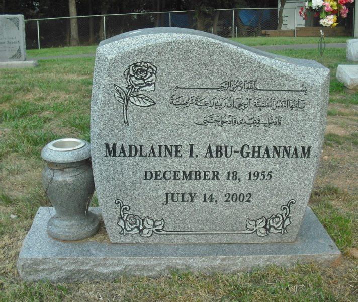 Multilingual Gray Granite Individual Memorial with 1/2 Serp Top and Vase Sterling, Virginia