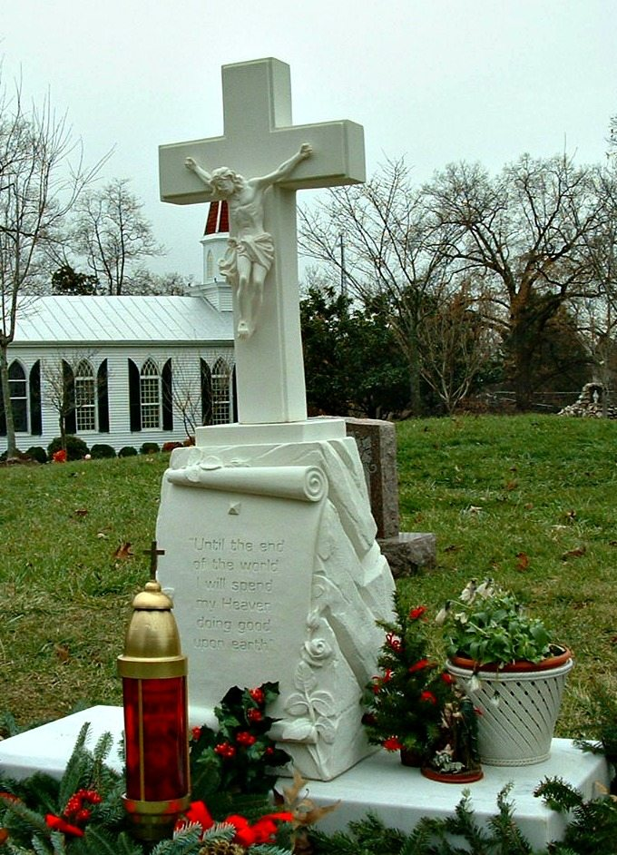 Recon Crucifix Monument at St Mary of Sorrows Catholic Cemetery in Fairfax Station, VA