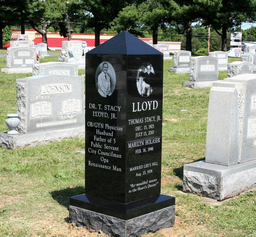 Black Granite Obelisk Monument at Oak Hill Cemetery in Fredericksburg, VA