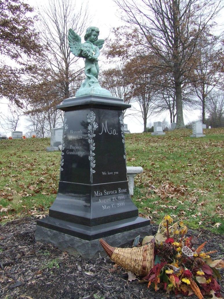 Black Granite Obelisk with Angel Broad Run, VA