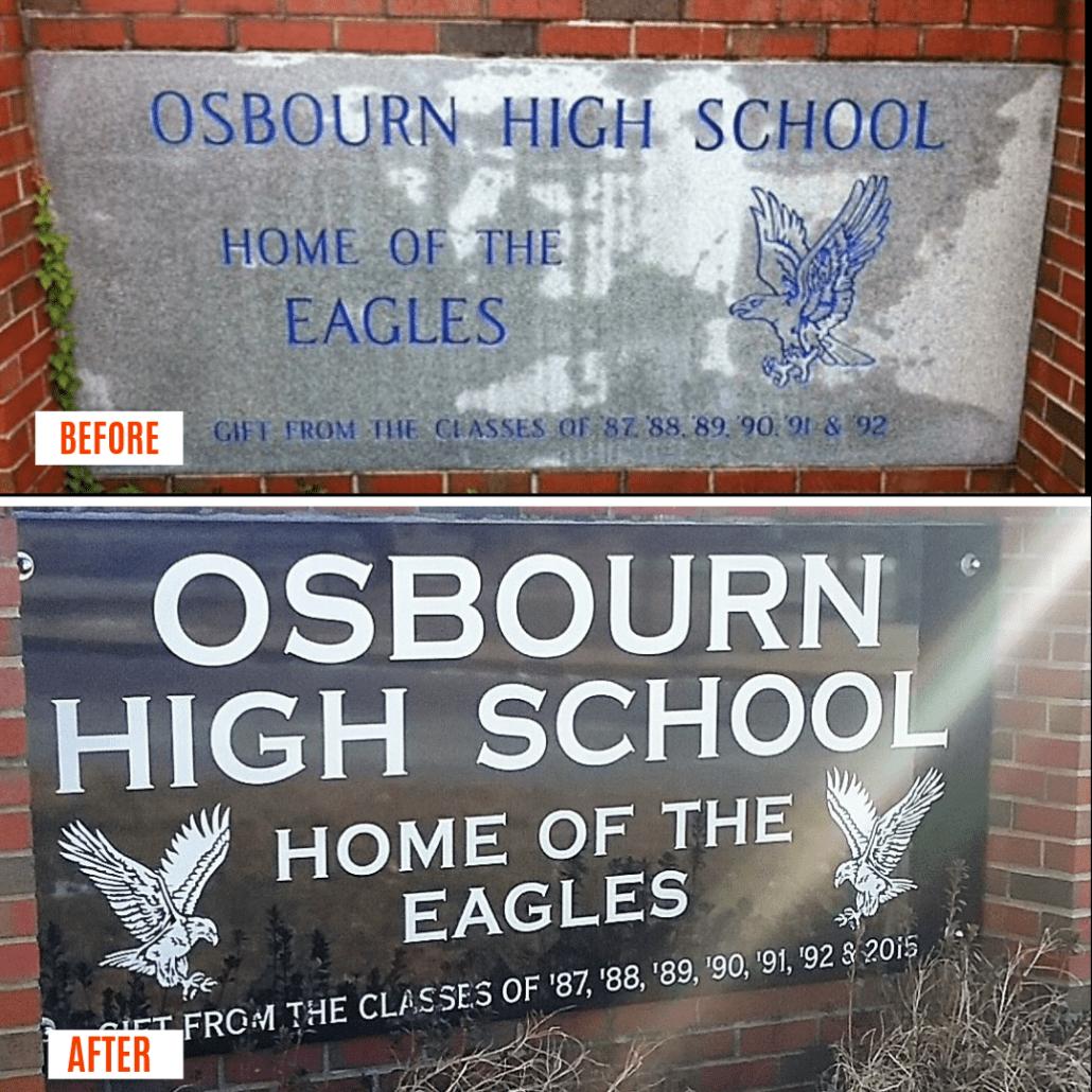 Restoration of Osbourn High School Sign by Kline Memorials