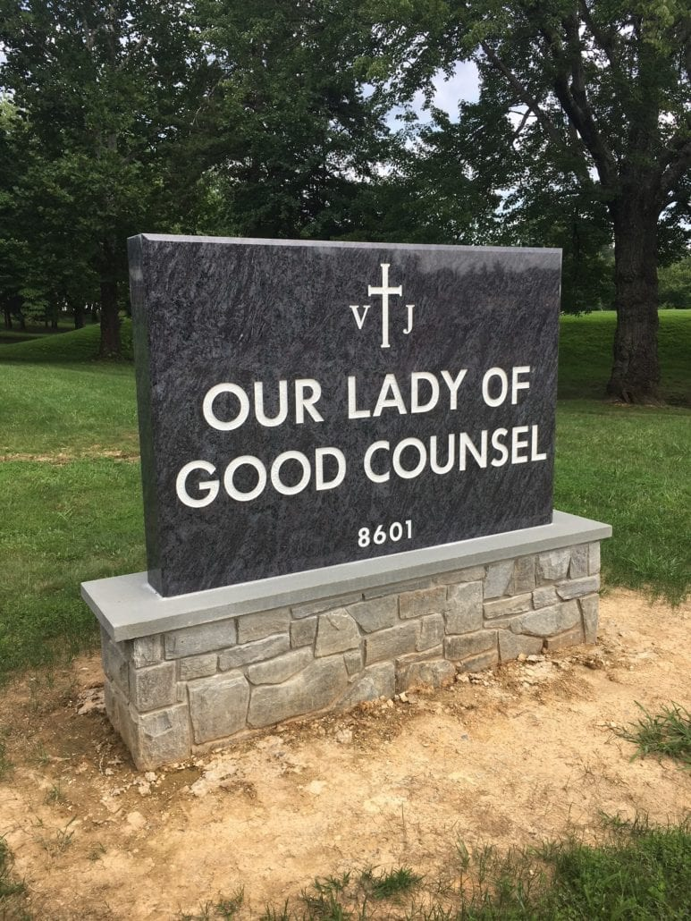 Our Lady of Good Counsel Sign by Kline Memorials