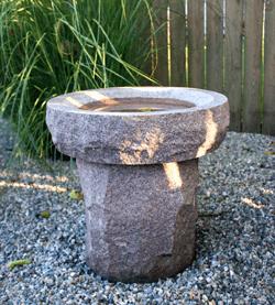 Cremation Memorial with round bird bath Arlington County, VA