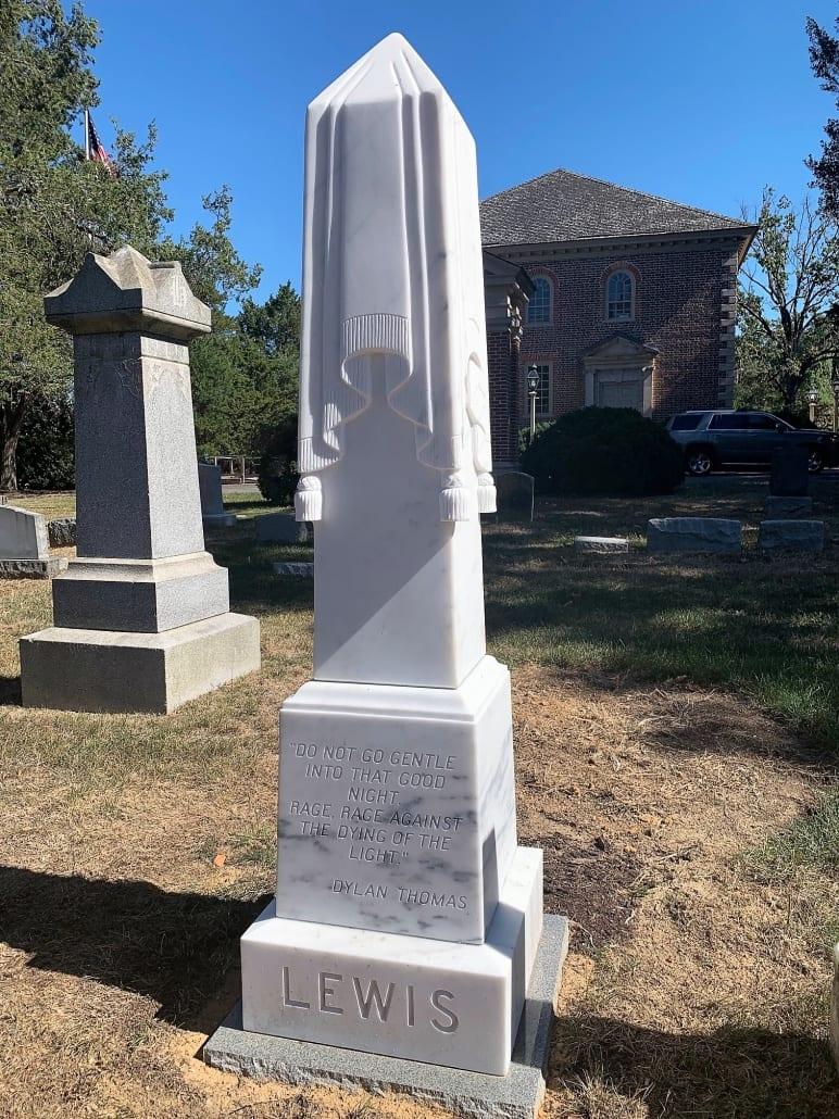 Draped Flag Obelisk Monument at Pohick Cemetery in Lorton, VA